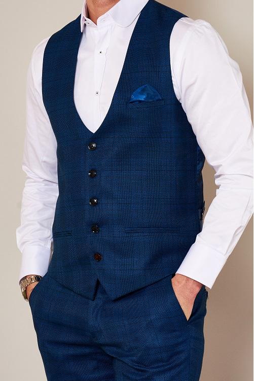 Marc Darcy - Jerry Blue Check Waistcoat