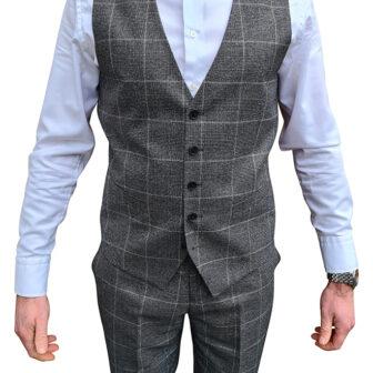 Charcoal Grey Check Waistcoat