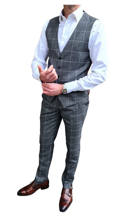 Charcoal Grey Check Suit