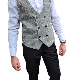 Marc Darcy - Ross Grey Check Double Breasted Waistcoat