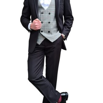 Black Tuxedo with Grey Check Waistcoat