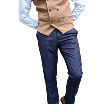 Marc Darcy - Kelly Tan Double Breasted Waistcoat