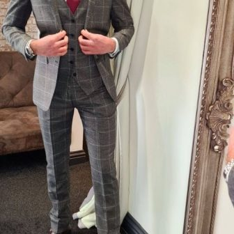 Charcoal Grey Check 3 Piece Suit