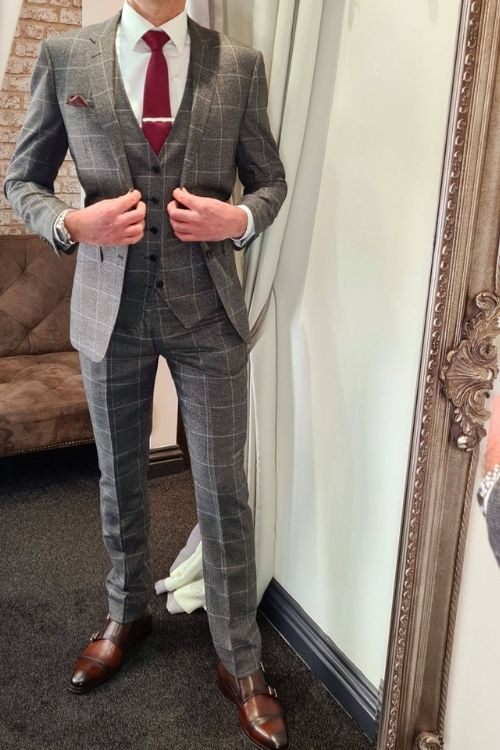 Charcoal Grey Check 3 Piece Suit