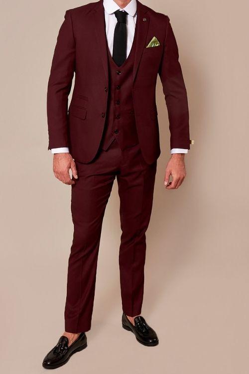 Marc Darcy Danny Wine 3 Piece Suit