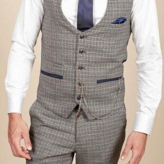 Marc Darcy Hardwick Blue and Tan Waistcoat (1)