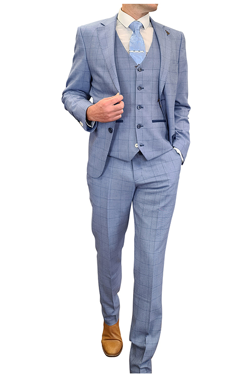 Fratelli – Blue Window Pane Check 3 Piece Suit