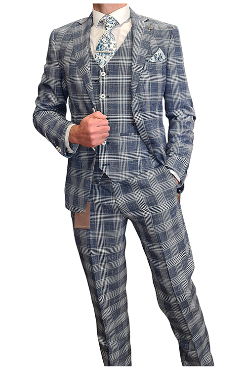 Fratelli – Navy White Check 3 Piece Suit