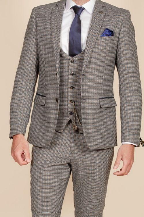 Marc Darcy – Hardwick Blue and Tan Check Tweed Blazer