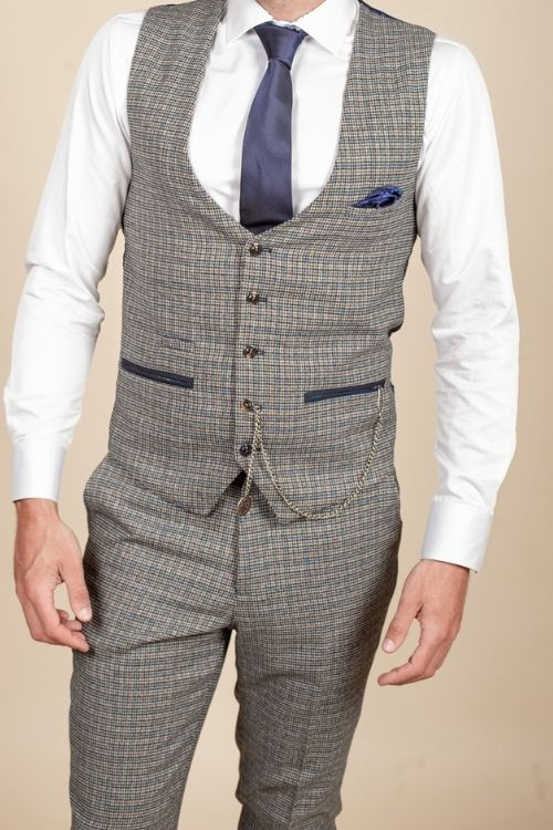 Marc Darcy – Hardwick Blue and Tan Check Tweed Waistcoat