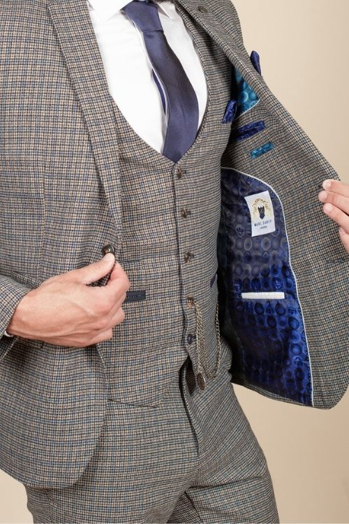 Marc Darcy – Hardwick Blue and Tan Check Tweed 3 Piece Suit