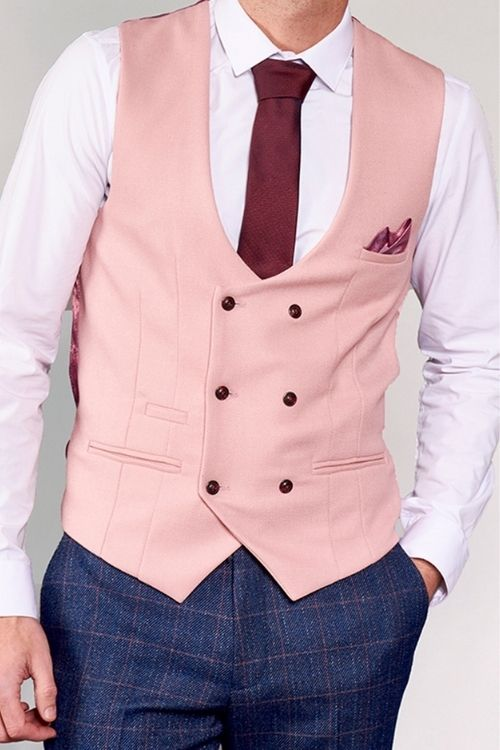 Marc Darcy - Kelvin Pink Double Breasted Waistcoat