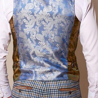 Marc Darcy - Watson Blue Tan Tweed Check Waistcoat