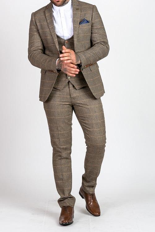 Marc Darcy – Ted Tan Tweed Check Three Piece Suit